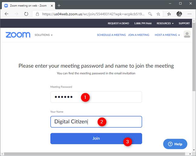 Introducerea ID-ului conferinței Zoom și alegerea unui nume pentru tine