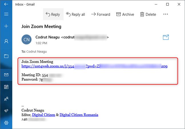 Invitație la o conferință Zoom primită prin e-mail