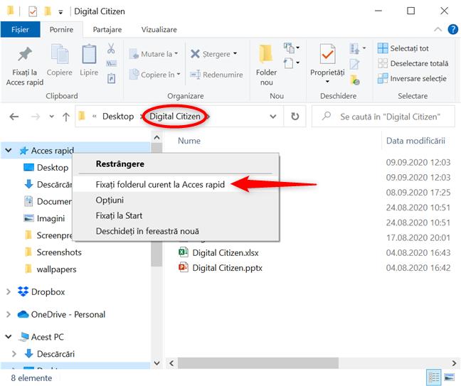 Fixează la Acces rapid folderul în care te afli