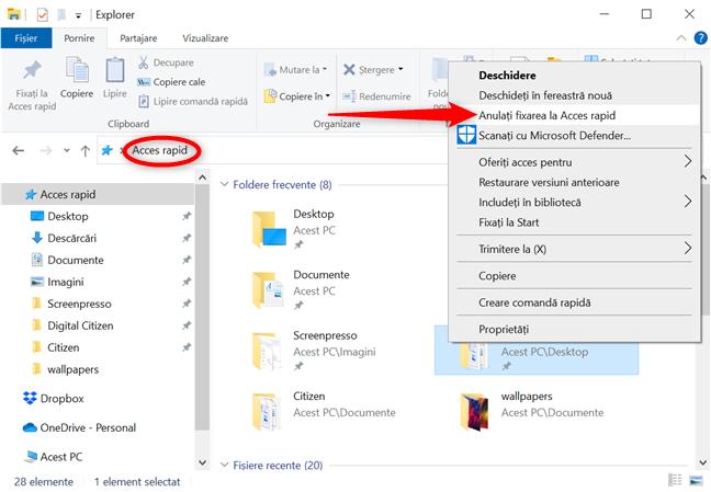 Anulează fixarea unui folder la Acces rapid
