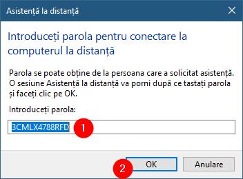 Introducerea parolei pentru conexiunea Asistență Windows la distanță