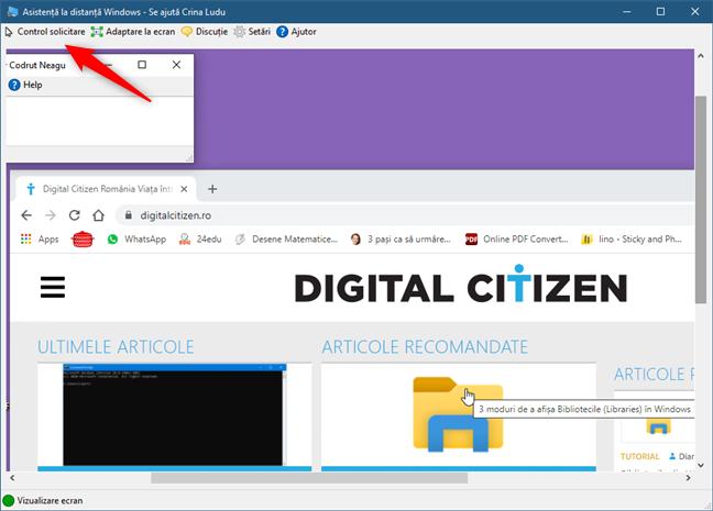 Control solicitare de la cealaltă persoană în Asistență la distanță Windows