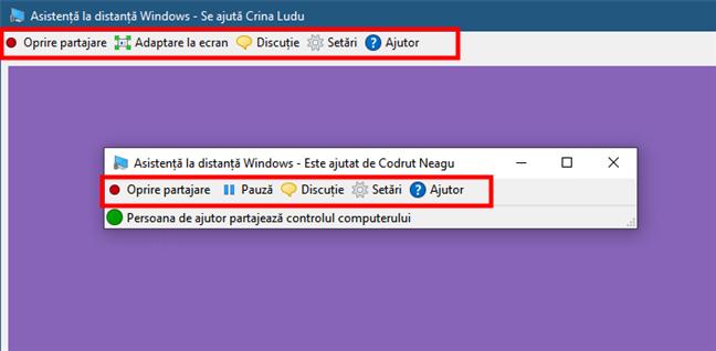 Butoane disponibile în Asistență la distanță Windows