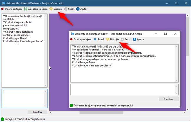 Folosirea opțiunii Discuție din Asistență la distanță Windows