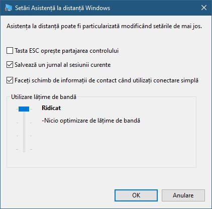 Setări din Asistență la distanță Windows disponibile pentru utilizatorul care primește ajutor