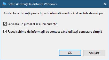 Setări din Asistență la distanță Windows disponibile pentru utilizatorul care oferă ajutor