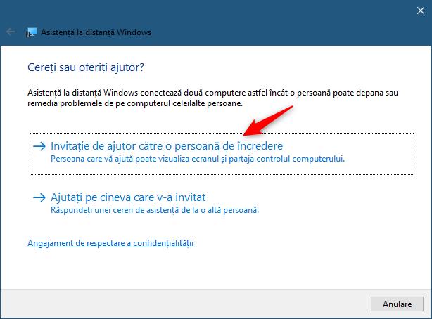 Asistență la distanță Windows: Invitație de ajutor către o persoană de încredere