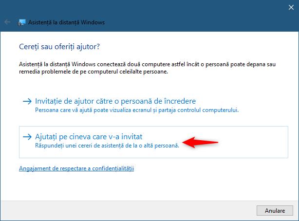 Utilizarea aplicației Asistență la distanță Windows pentru a ajuta pe cineva care te-a rugat