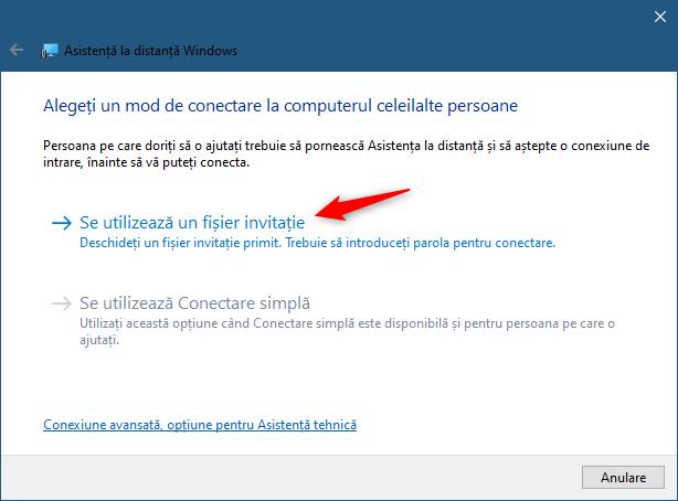 Opțiunea Se utilizează un fișier invitație din Asistență la distanță Windows