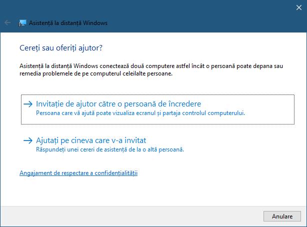 Aplicația Asistență la distanță Windows din Windows 10