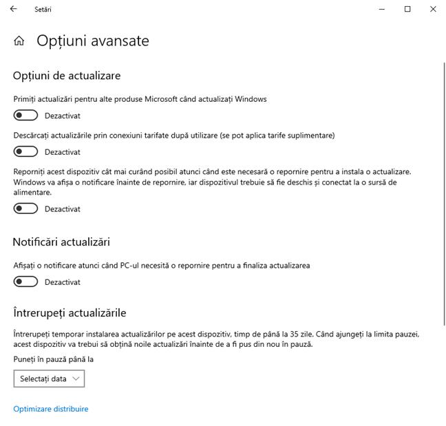 Opțiunile avansate pentru Windows Update