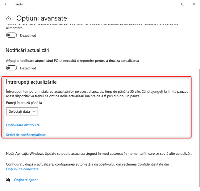 Secțiunea Întrerupeți actualizările din Windows Update