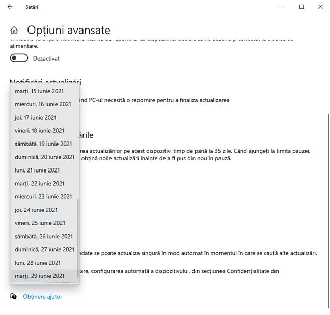 Alege data până la care amâni actualizările de Windows 10