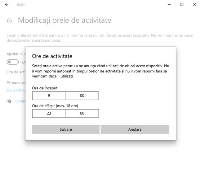 Setează orele de activitate pentru Windows 10