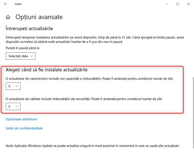 Alege când să fie instalate actualizările în Windows 10 Pro