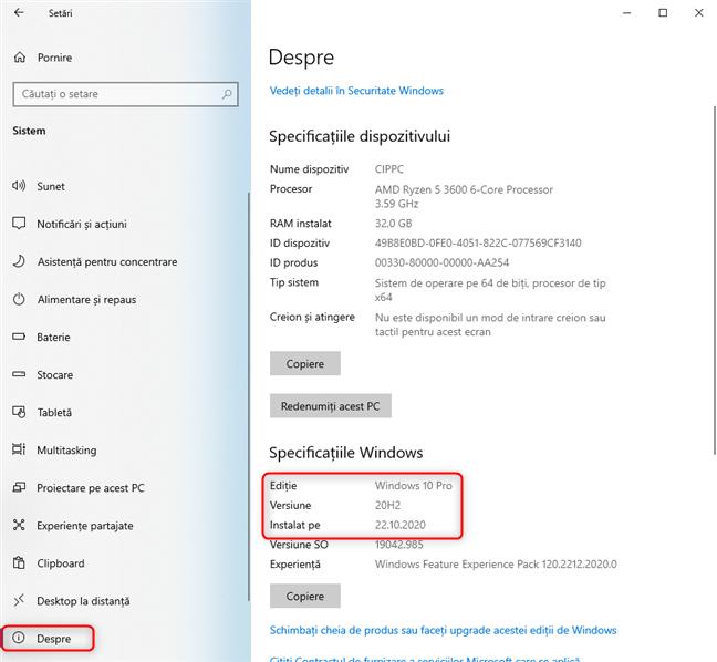 Detalii despre Windows 10