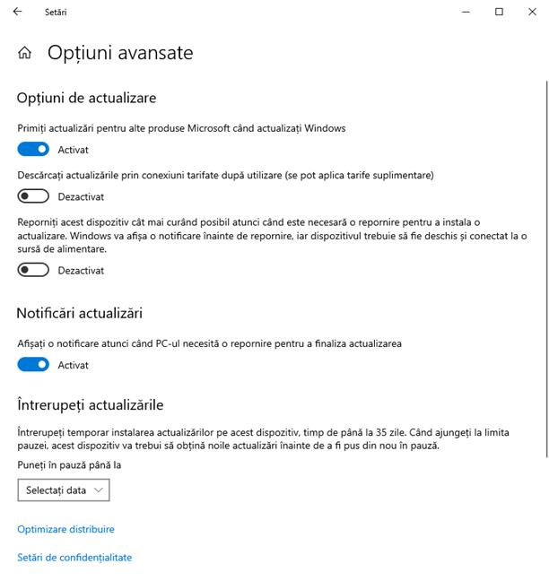 Opțiunile avansate disponibile în Windows 10 May 2020 Update