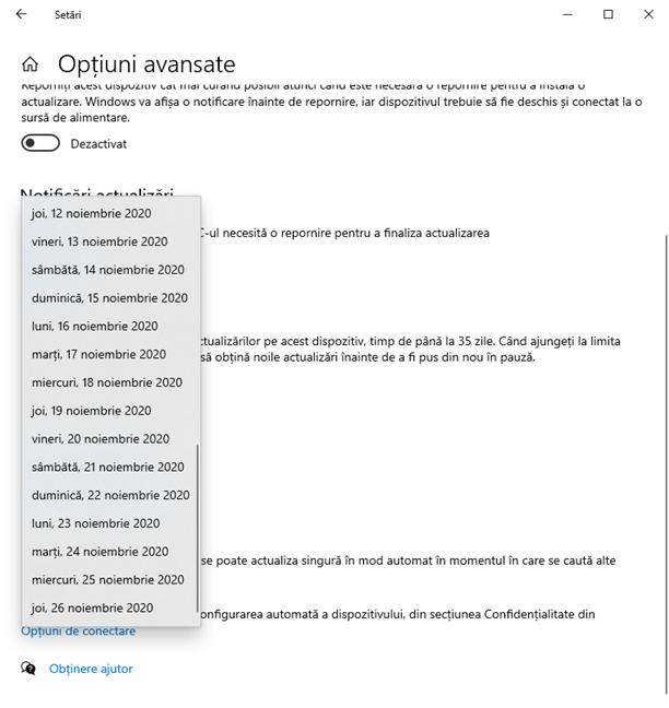 Alege data până când sunt amânate actualizările pentru Windows 10