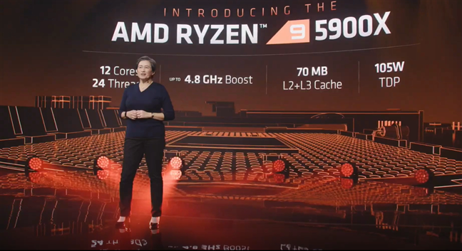 CEO-ul AMD, Lisa Su, prezentând AMD Ryzen 9 5900X