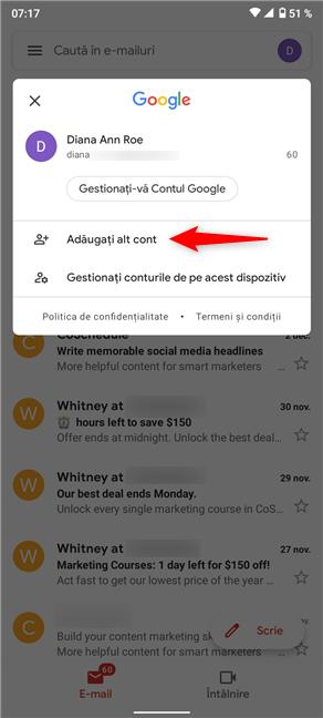 Apasă pe Adăugați alt cont pentru a adăuga un al doilea cont Gmail