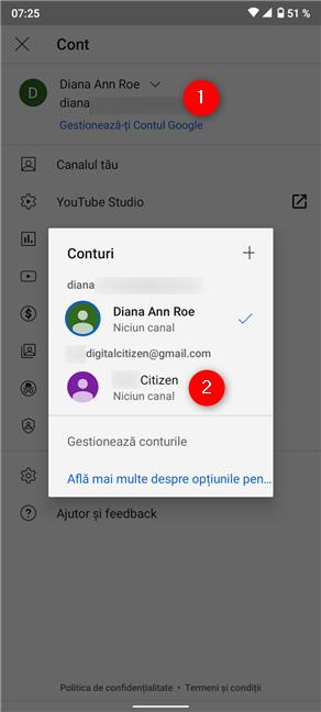 Schimbă conturile Google din fereastra care apare pe YouTube