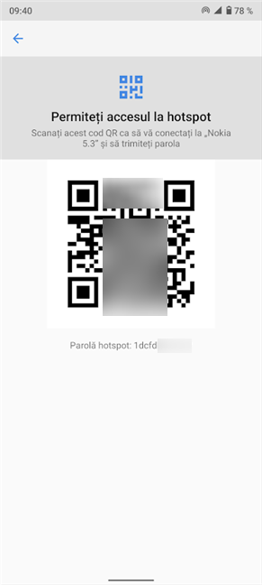 Scanează codul QR code sau folosește Parola hotspot