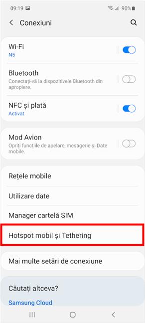 Apasă pe Hotspot mobil și Tethering