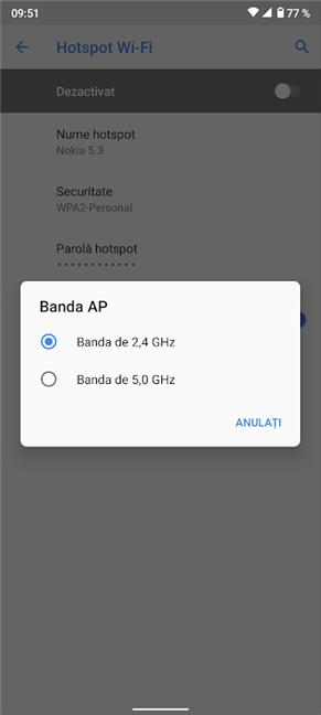Poți selecta o bandă AP diferită pentru a spori viteza hotspotului