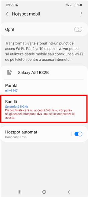 Când schimbi Banda hotspot pe Samsung Galaxy, ești avertizat de posibile probleme de compatibilitate