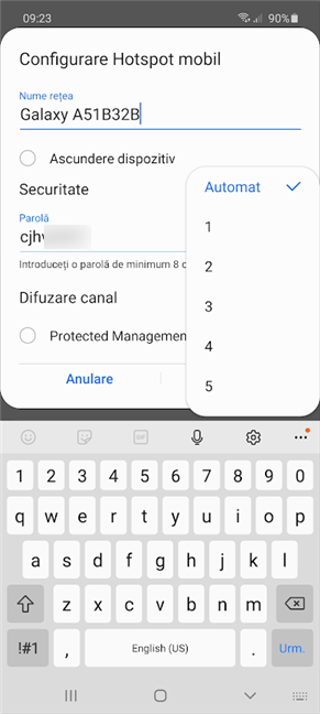 Selectează manual Difuzarea canal