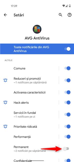 Dezactivează comutatorul pentru a opri notificările permanente din a apărea pe Android