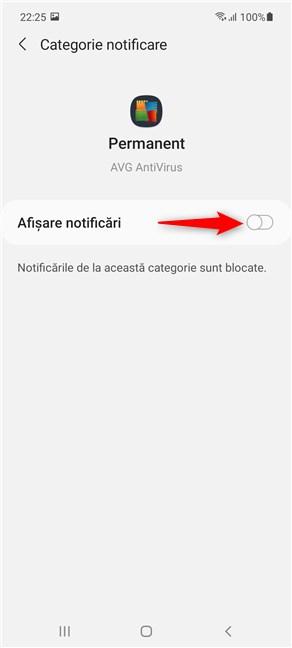 Dezactivează comutatorul pentru a scăpa de o notificare permanentă pe Samsung Galaxy