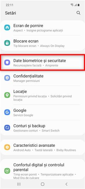 Apasă pe Date biometrice și securitate