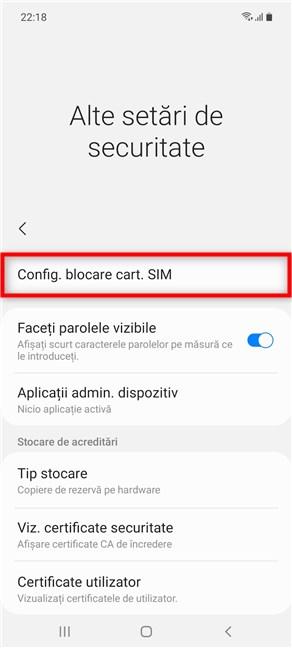 Accesează Config. blocare cart. SIM