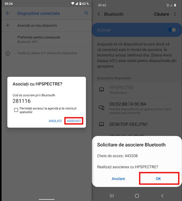 Apasă Asociați sau OK cât poți de repede pe Android