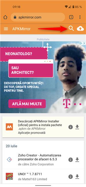 Caută aplicații pe APKMirror