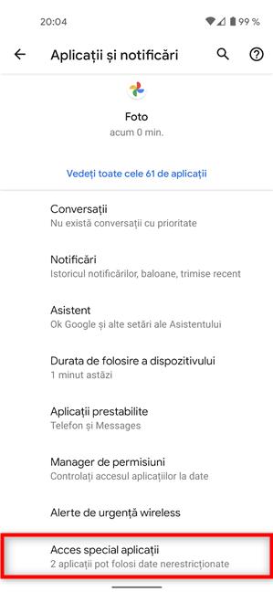 Apasă pe Acces special aplicații