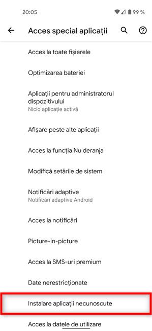 Apasă pe Instalare aplicații necunoscute