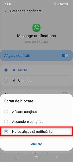 Ascunde notificările mesajelor de pe WhatsApp pe Samsung Galaxy
