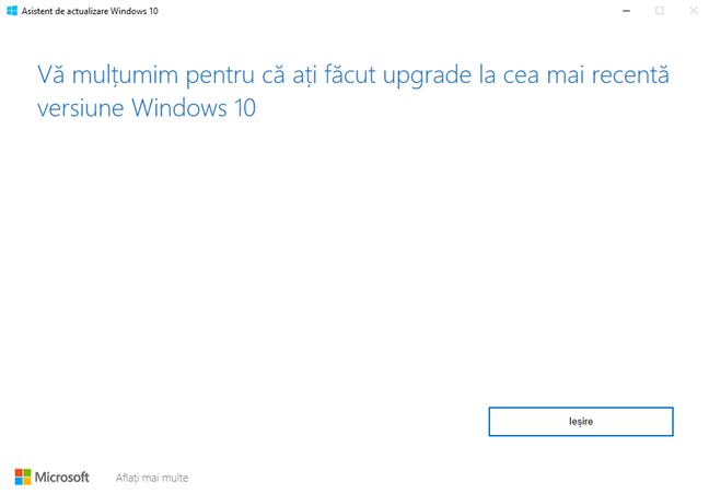 Windows 10 Update Assistant îți mulțumește pentru actualizare