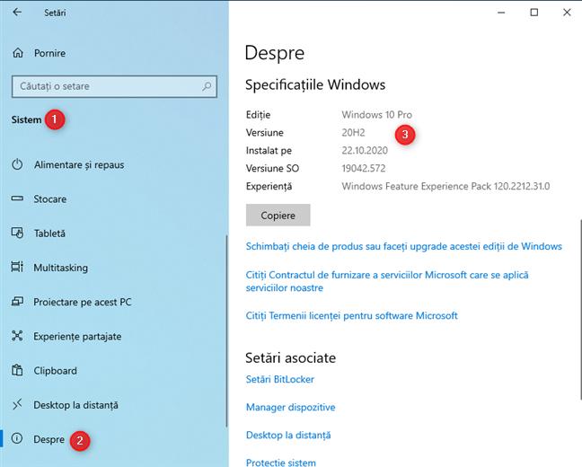Informațiile despre versiune și build ale Windows 10