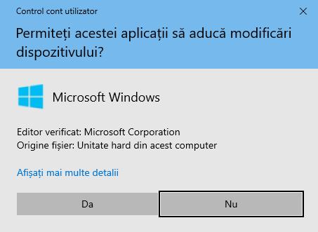 Notificarea CCU pentru a executa Asistentul de actualizare Windows 10