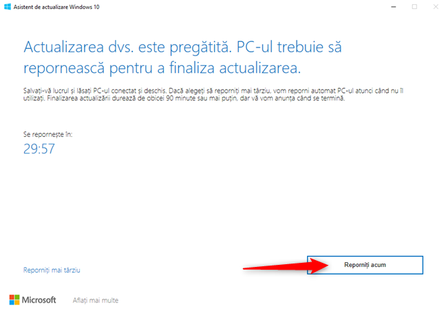 Repornirea PC-ului pentru a aplica Windows 10 October 2020 Update
