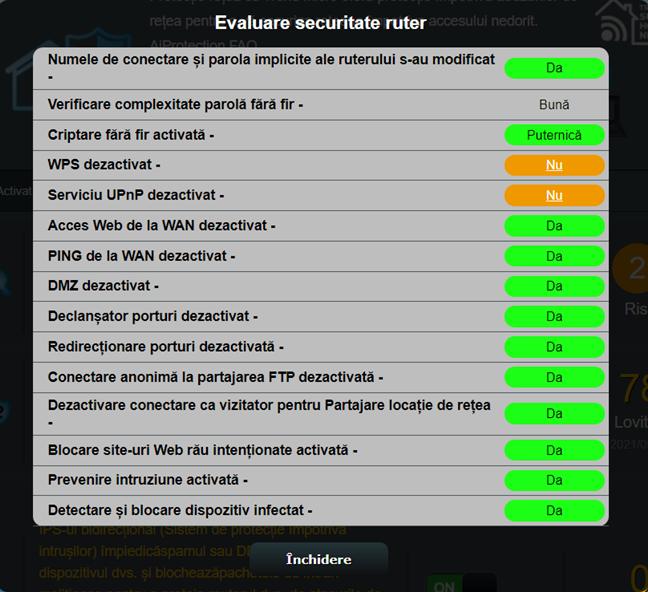 Rezultatele evaluării securitate router