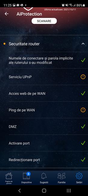 Rezultatele evaluării securității routeurului