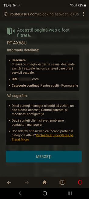 Controlul parental ASUS blochează accesul la conținutul pentru adulți