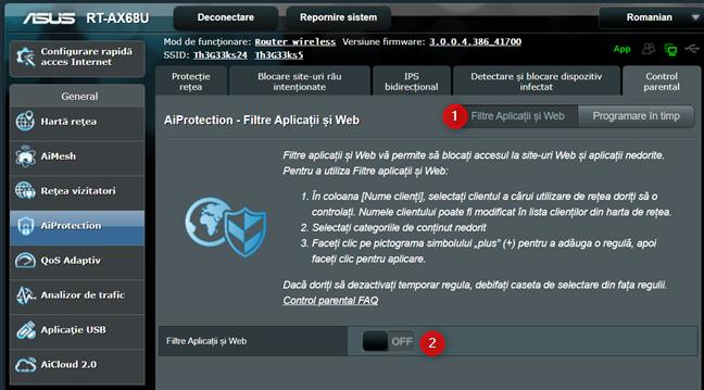 Activează Filtre Aplicații și Web pe routerul ASUS