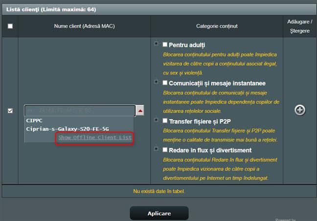 Lista de dispozitive poate fi extinsă pentru a le include pe cele offline