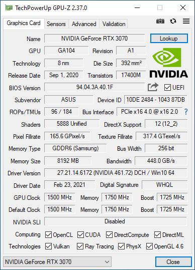 ASUS Turbo GeForce RTX 3070: Detalii în GPU-Z