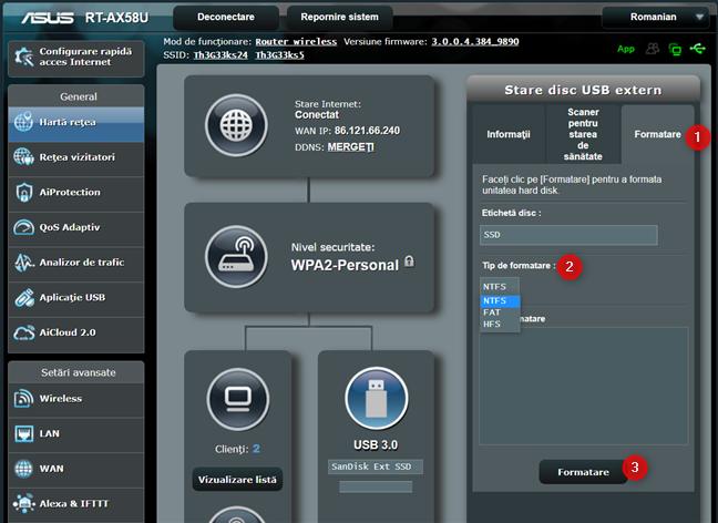 Formatează unitatea USB de pe routerul ASUS